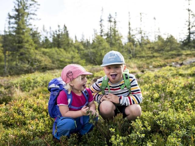To jenter som koser seg på fjellet