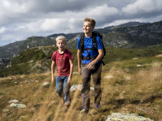 To gutter går på fjelltur